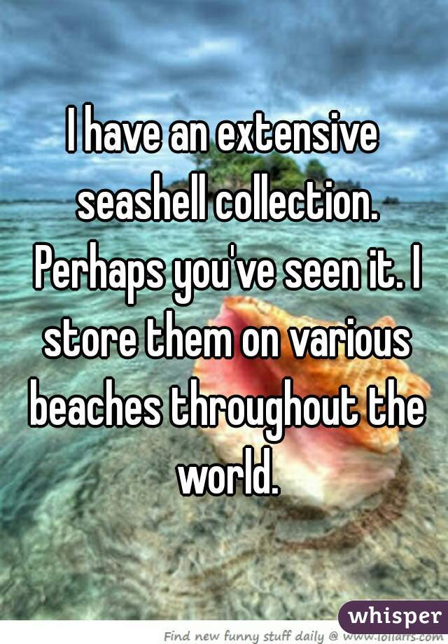 I have an extensive seashell collection. Perhaps you've seen it. I store them on various beaches throughout the world.