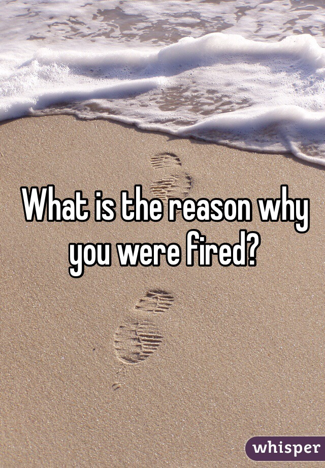 What is the reason why you were fired?