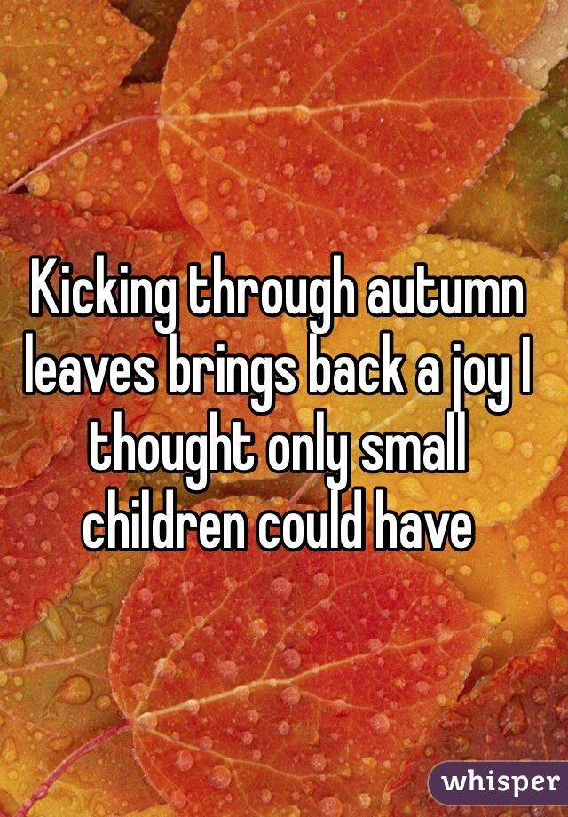 Kicking through autumn leaves brings back a joy I thought only small children could have