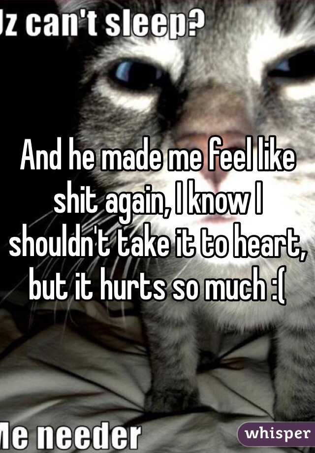And he made me feel like shit again, I know I shouldn't take it to heart, but it hurts so much :(