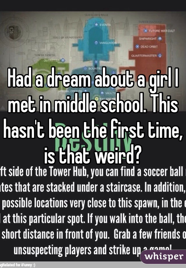 Had a dream about a girl I met in middle school. This hasn't been the first time, is that weird?
