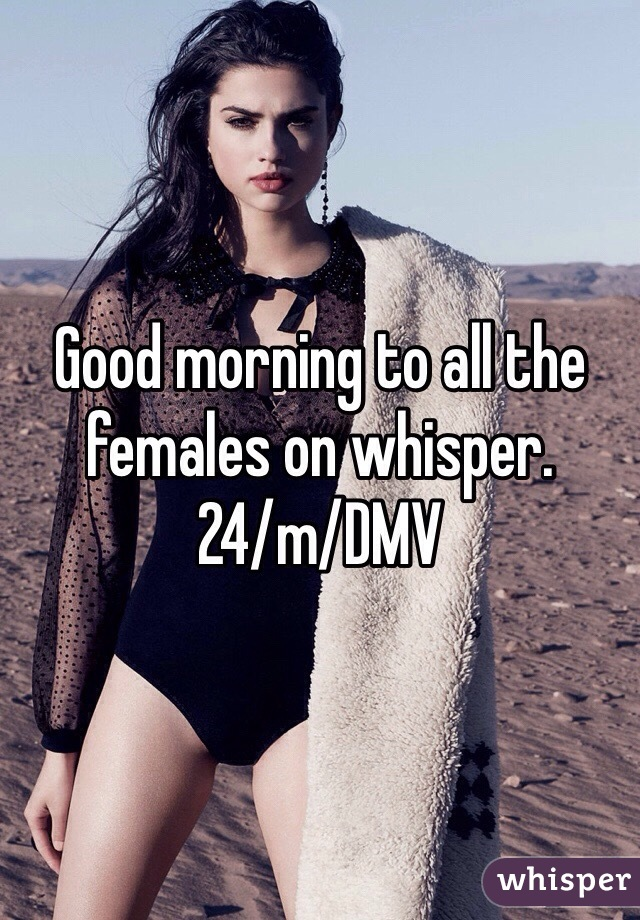 Good morning to all the females on whisper. 24/m/DMV