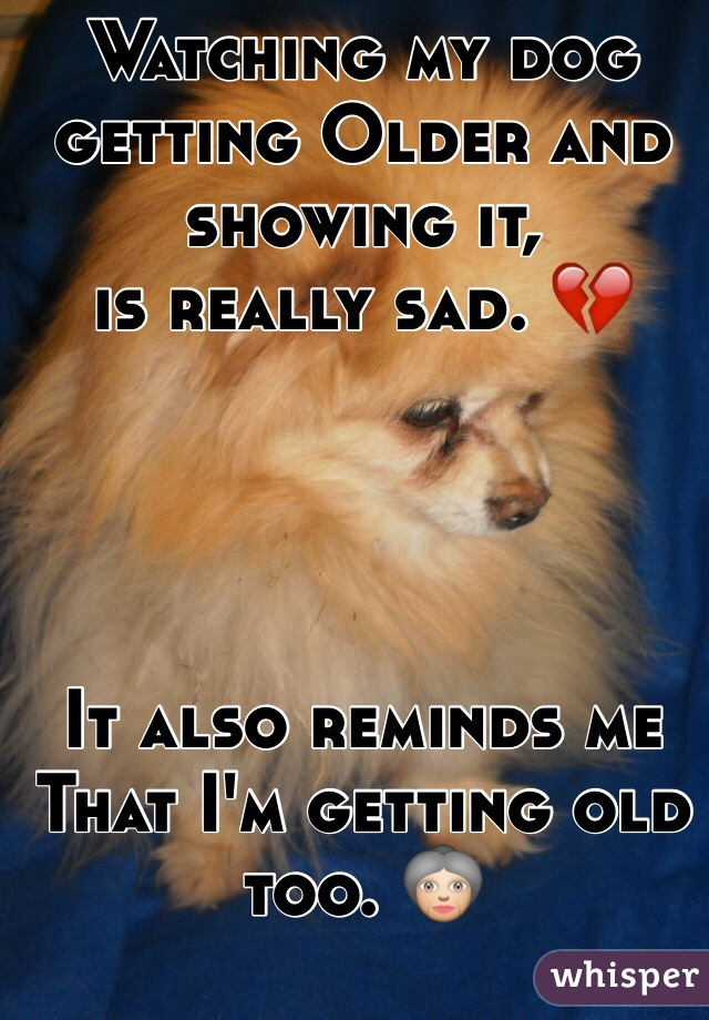 Watching my dog getting Older and showing it,  is really sad. 💔     It also reminds me  That I'm getting old too. 👵