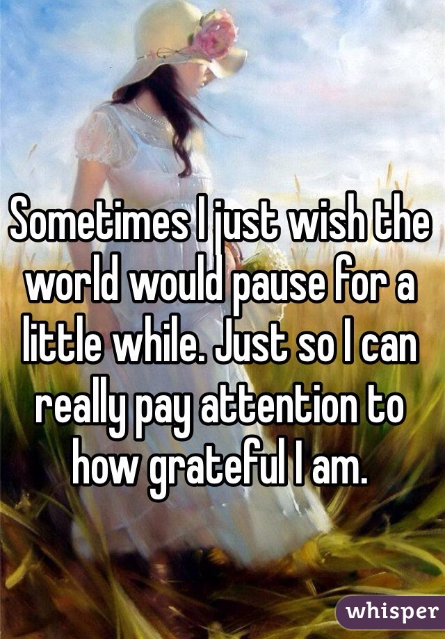 Sometimes I just wish the world would pause for a little while. Just so I can really pay attention to how grateful I am.