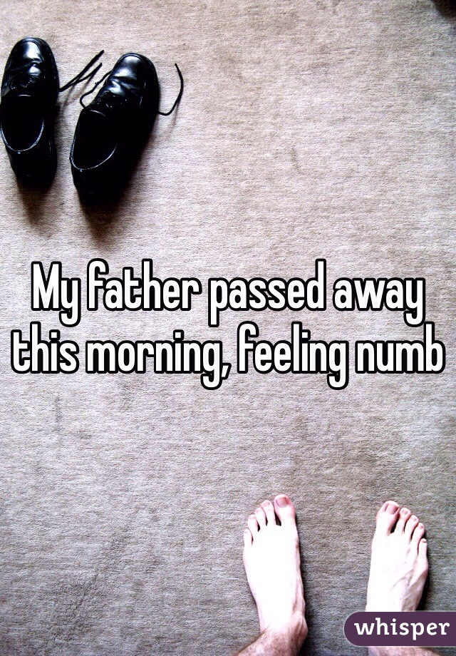 My father passed away this morning, feeling numb