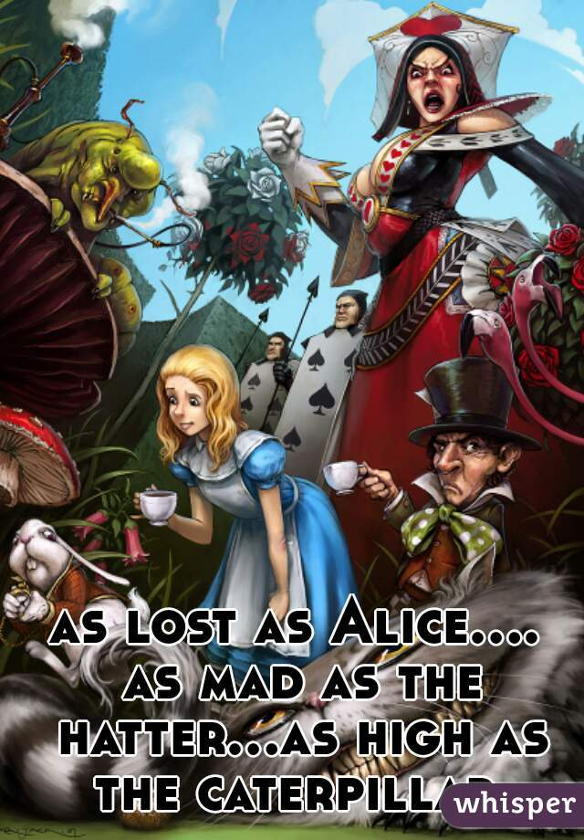 as lost as Alice.... as mad as the hatter...as high as the caterpillar.