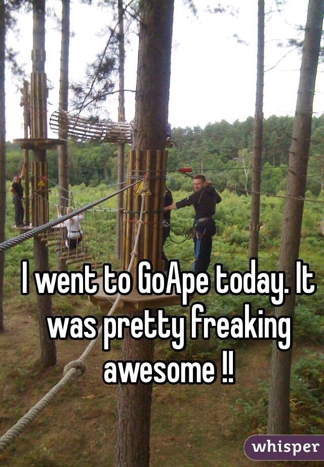 I went to GoApe today. It was pretty freaking awesome !!