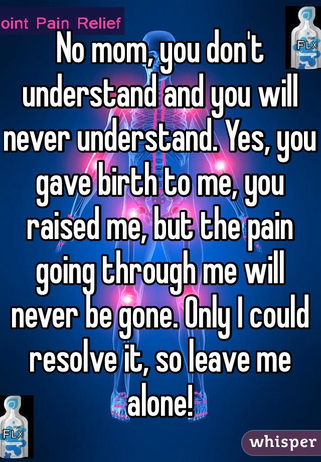 No mom, you don't understand and you will never understand. Yes, you gave birth to me, you raised me, but the pain going through me will never be gone. Only I could resolve it, so leave me alone!