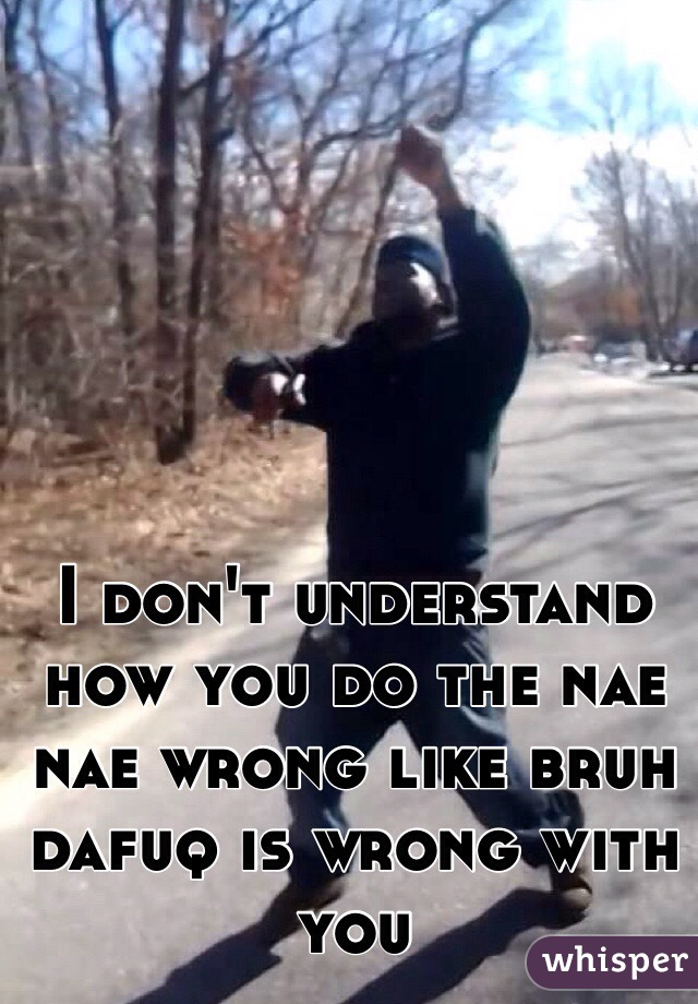 I don't understand how you do the nae nae wrong like bruh dafuq is wrong with you