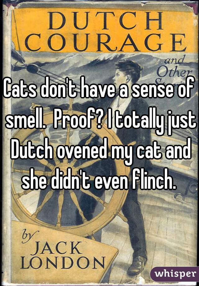 Cats don't have a sense of smell.  Proof? I totally just Dutch ovened my cat and she didn't even flinch.