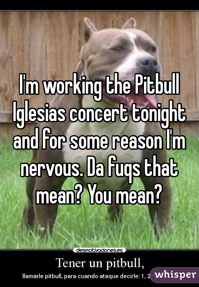 I'm working the Pitbull Iglesias concert tonight and for some reason I'm nervous. Da fuqs that mean? You mean?