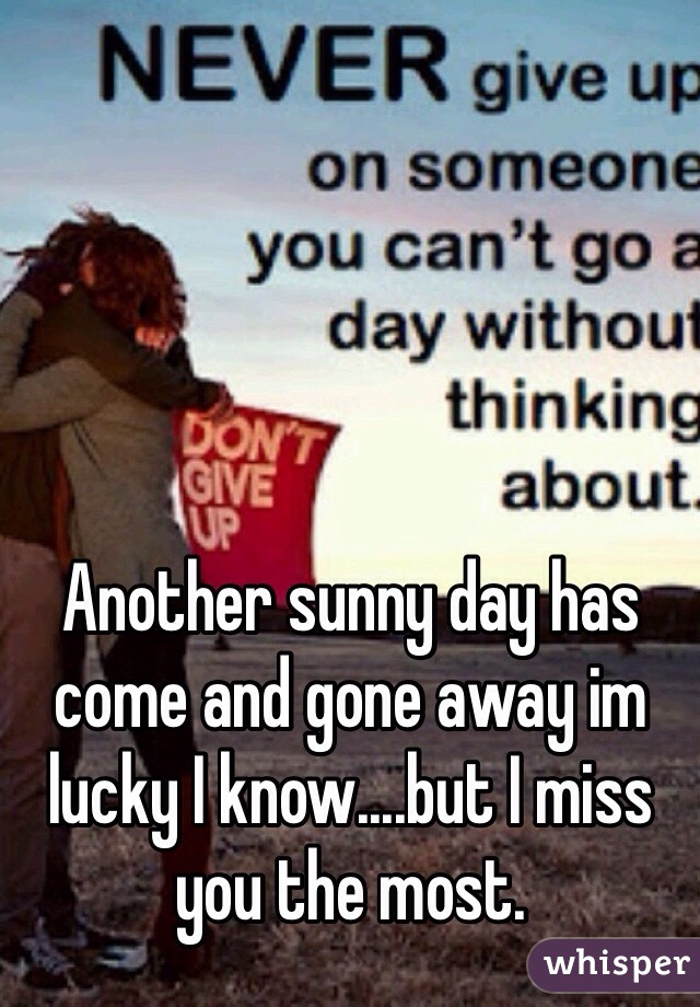 Another sunny day has come and gone away im lucky I know....but I miss you the most.