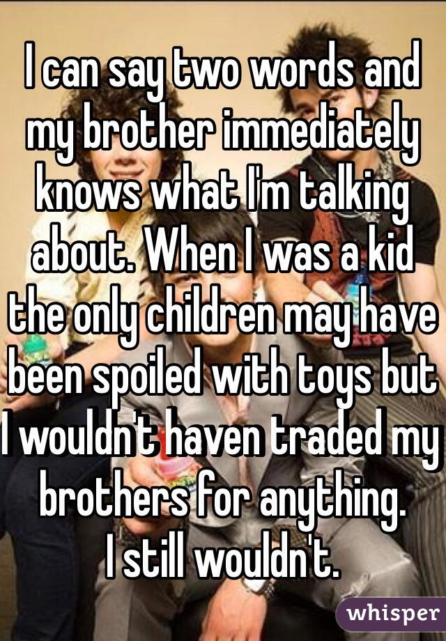 I can say two words and my brother immediately knows what I'm talking about. When I was a kid the only children may have been spoiled with toys but I wouldn't haven traded my brothers for anything. I still wouldn't.