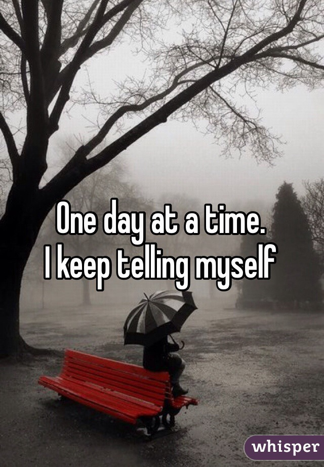 One day at a time.  I keep telling myself