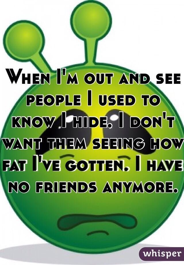 When I'm out and see people I used to know I hide. I don't want them seeing how fat I've gotten. I have no friends anymore.