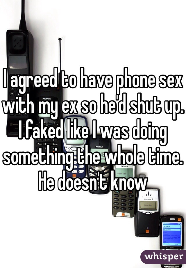 I agreed to have phone sex with my ex so he'd shut up. I faked like I was doing something the whole time. He doesn't know