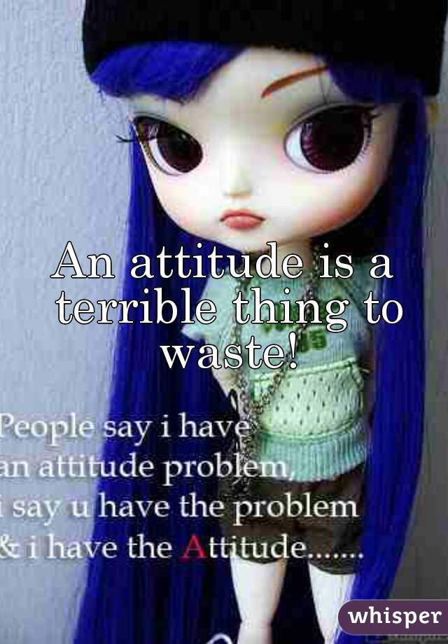 An attitude is a terrible thing to waste!