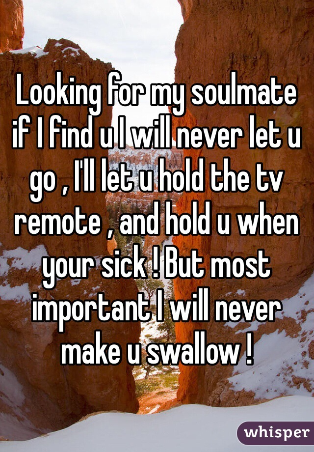 Looking for my soulmate if I find u I will never let u go , I'll let u hold the tv remote , and hold u when your sick ! But most important I will never make u swallow !