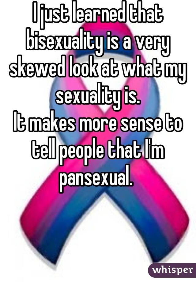I just learned that bisexuality is a very skewed look at what my sexuality is. It makes more sense to tell people that I'm pansexual.