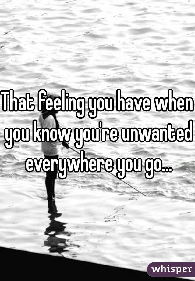 That feeling you have when you know you're unwanted everywhere you go...