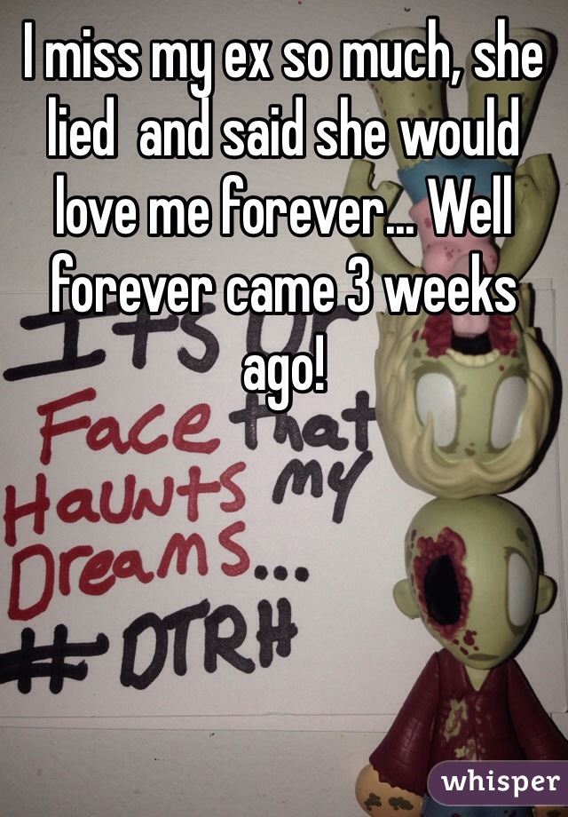 I miss my ex so much, she lied  and said she would love me forever... Well forever came 3 weeks ago!
