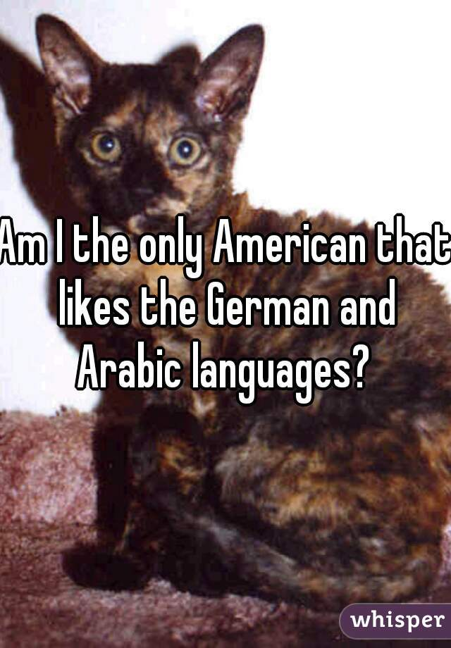 Am I the only American that likes the German and Arabic languages?