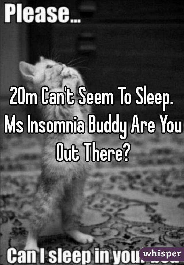 20m Can't Seem To Sleep. Ms Insomnia Buddy Are You Out There?