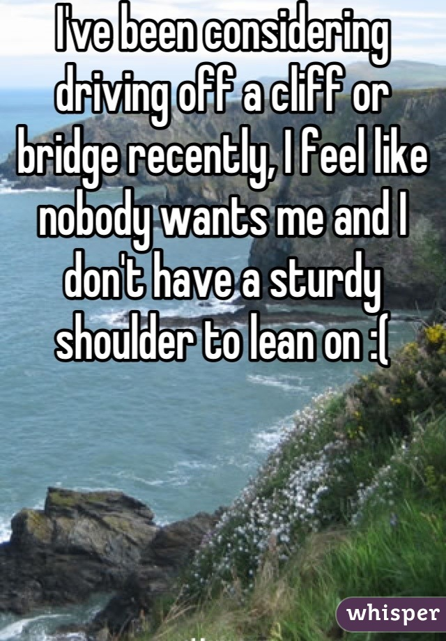 I've been considering driving off a cliff or bridge recently, I feel like nobody wants me and I don't have a sturdy shoulder to lean on :(