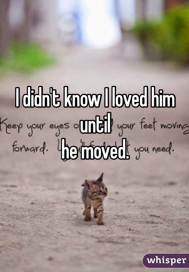 I didn't know I loved him until he moved.