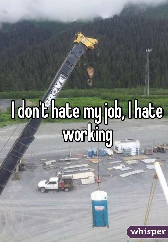 I don't hate my job, I hate working