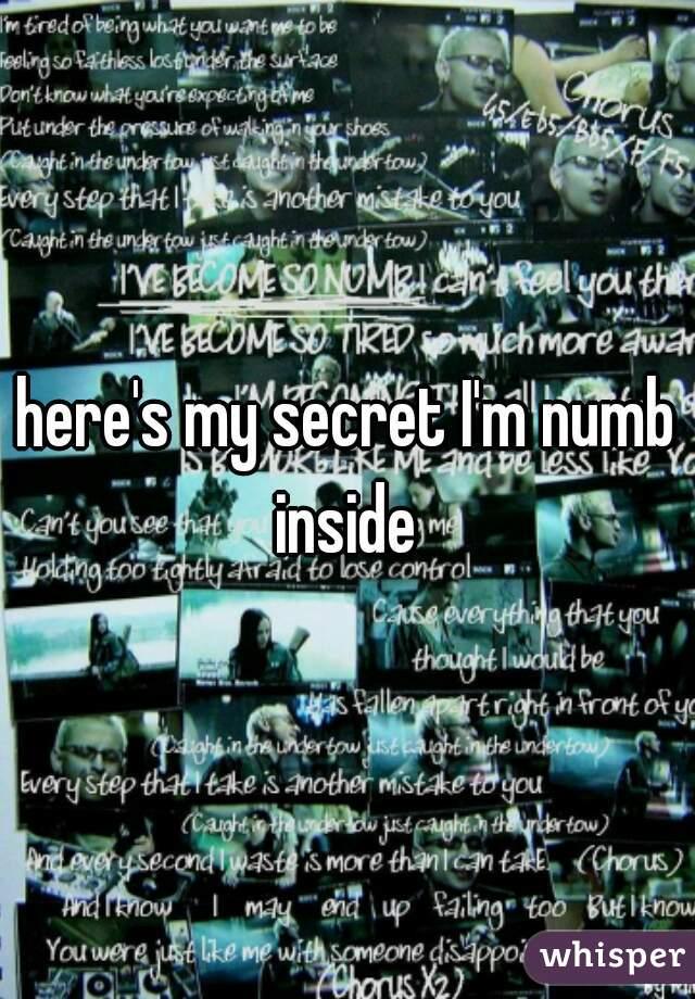 here's my secret I'm numb inside
