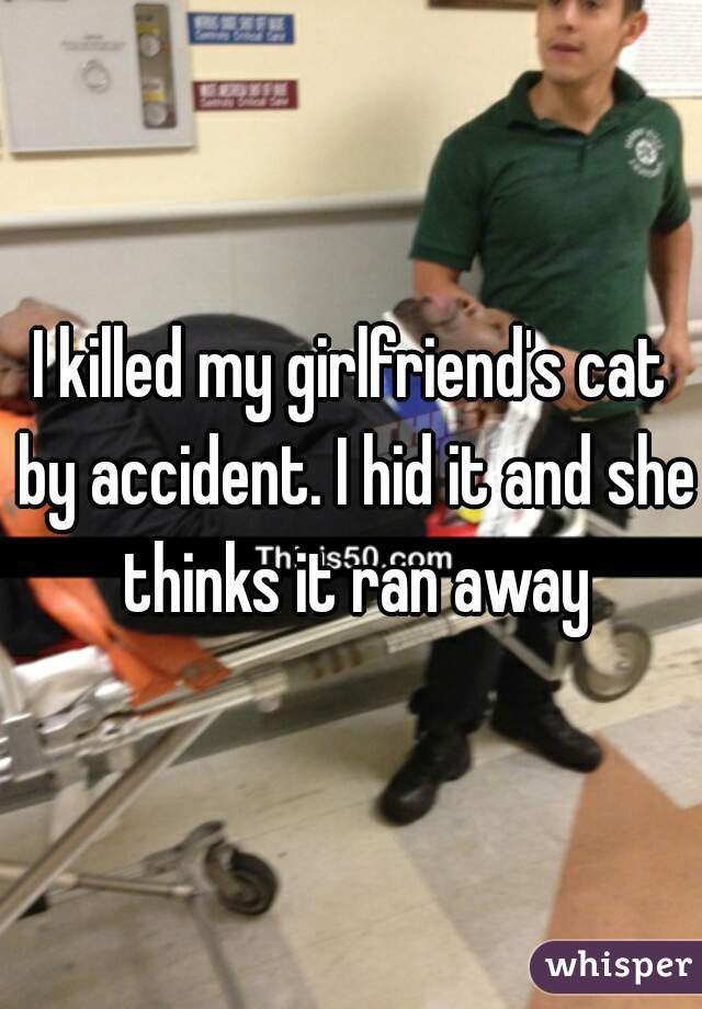 I killed my girlfriend's cat by accident. I hid it and she thinks it ran away
