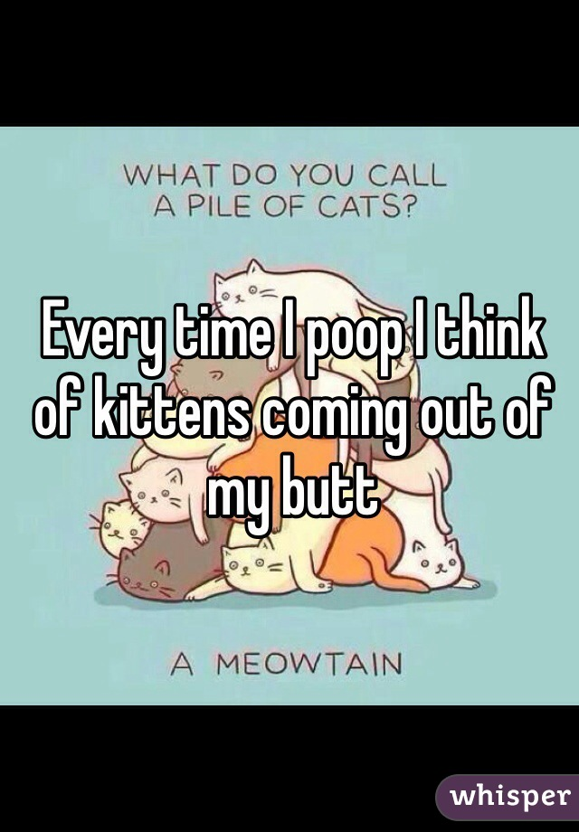 Every time I poop I think of kittens coming out of my butt