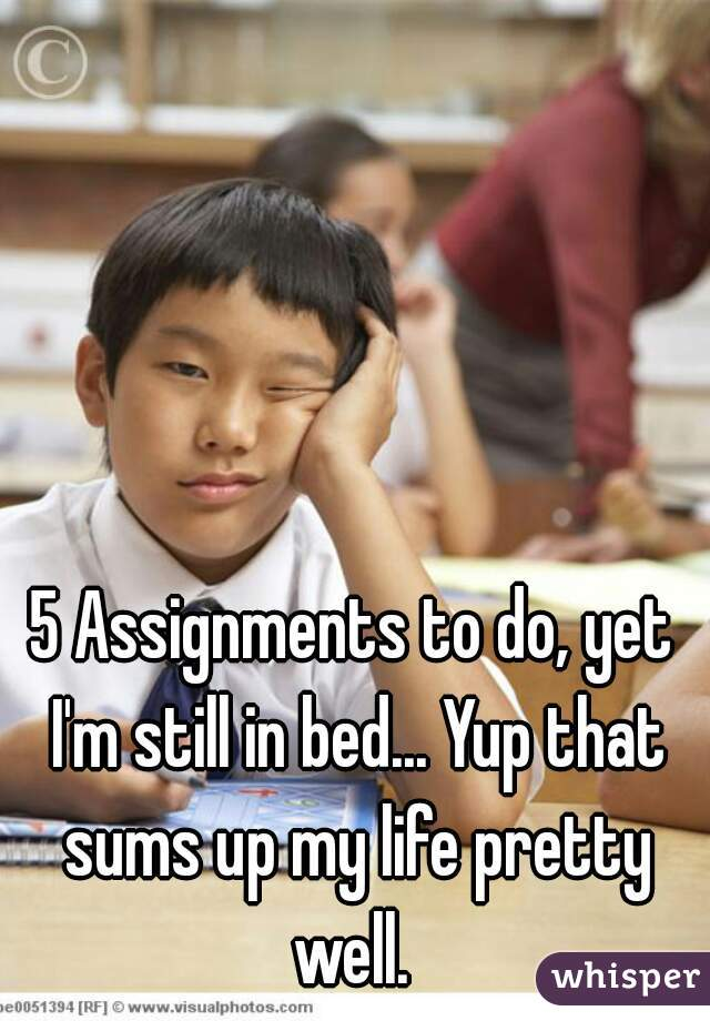 5 Assignments to do, yet I'm still in bed... Yup that sums up my life pretty well.