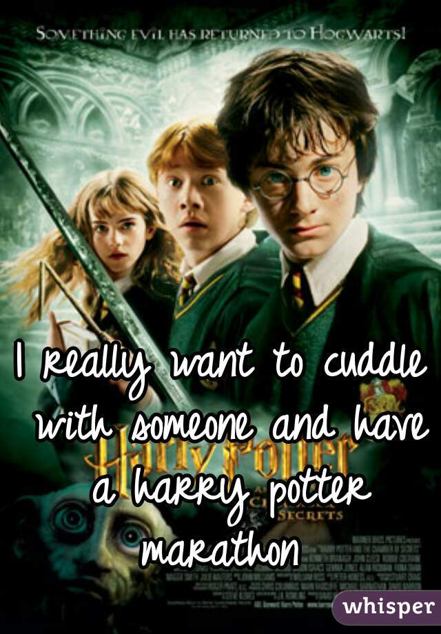 I really want to cuddle with someone and have a harry potter marathon