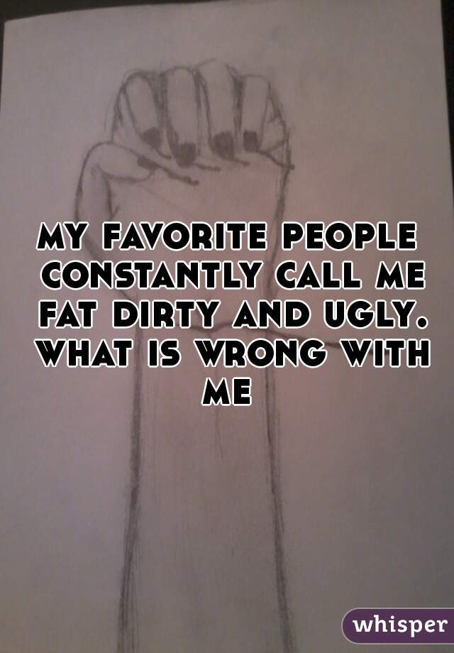 my favorite people constantly call me fat dirty and ugly. what is wrong with me