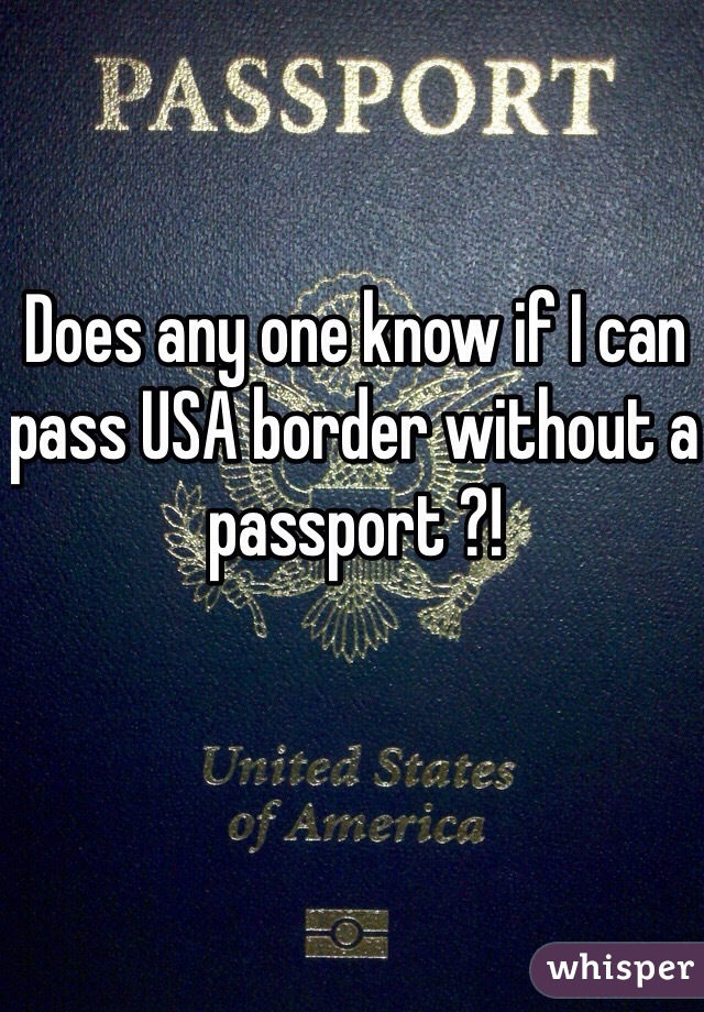 Does any one know if I can pass USA border without a passport ?!