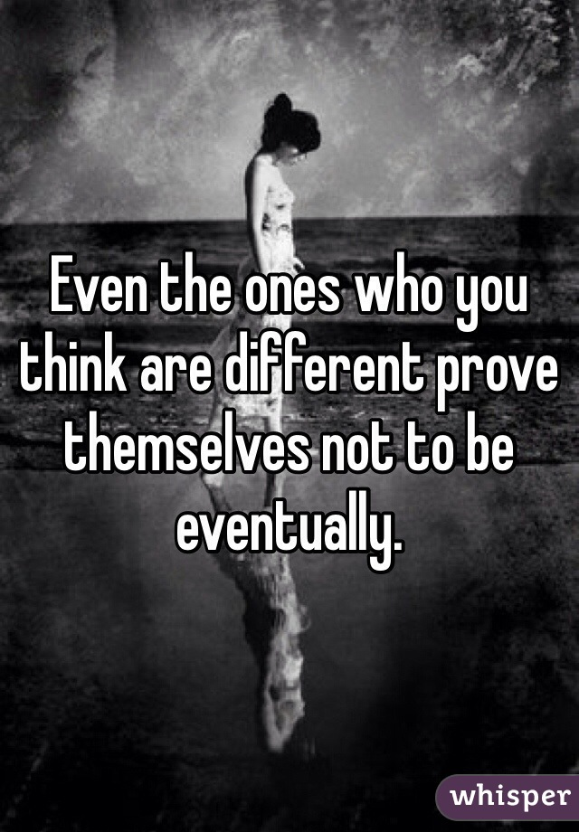 Even the ones who you think are different prove themselves not to be eventually.