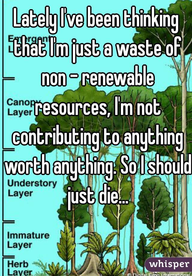 Lately I've been thinking that I'm just a waste of non - renewable resources, I'm not contributing to anything worth anything. So I should just die...