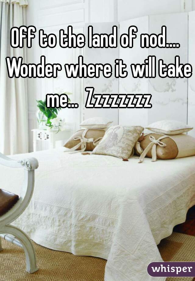 Off to the land of nod....  Wonder where it will take me...  Zzzzzzzz