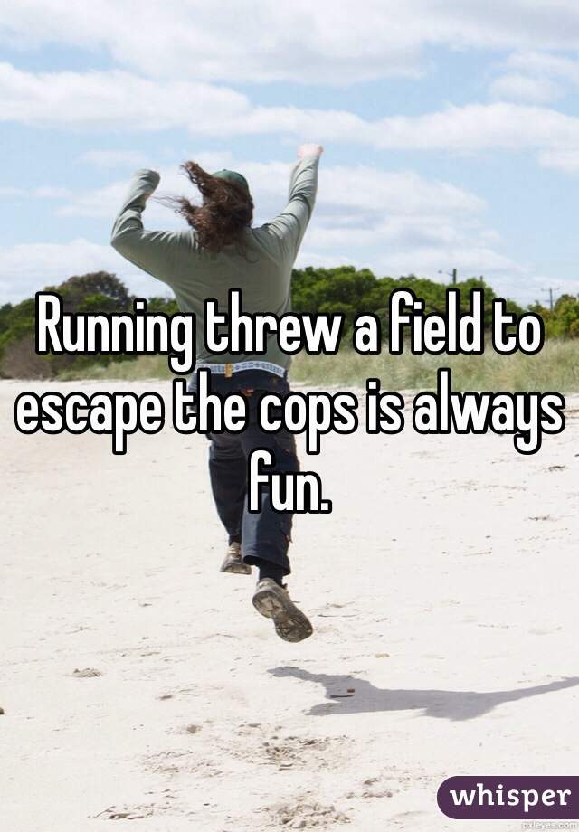Running threw a field to escape the cops is always fun.