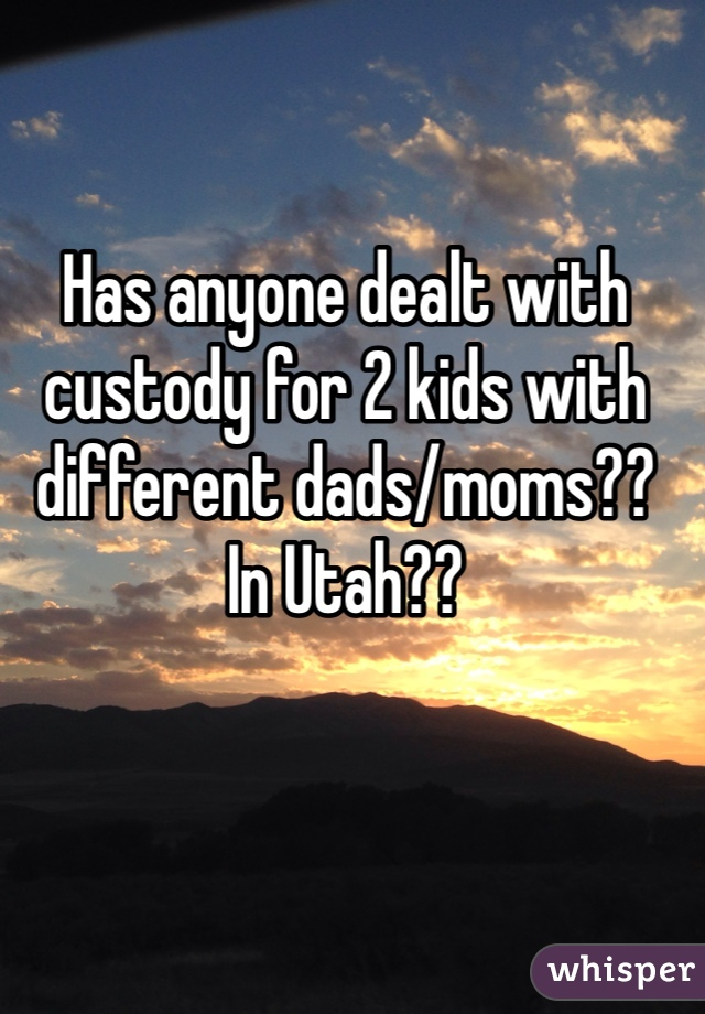 Has anyone dealt with custody for 2 kids with different dads/moms?? In Utah??