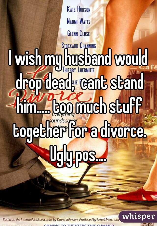 I wish my husband would drop dead,  cant stand him..... too much stuff together for a divorce. Ugly pos....