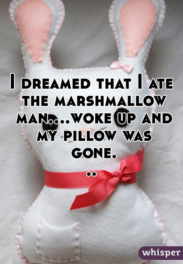 I dreamed that I ate the marshmallow man....woke up and my pillow was gone...