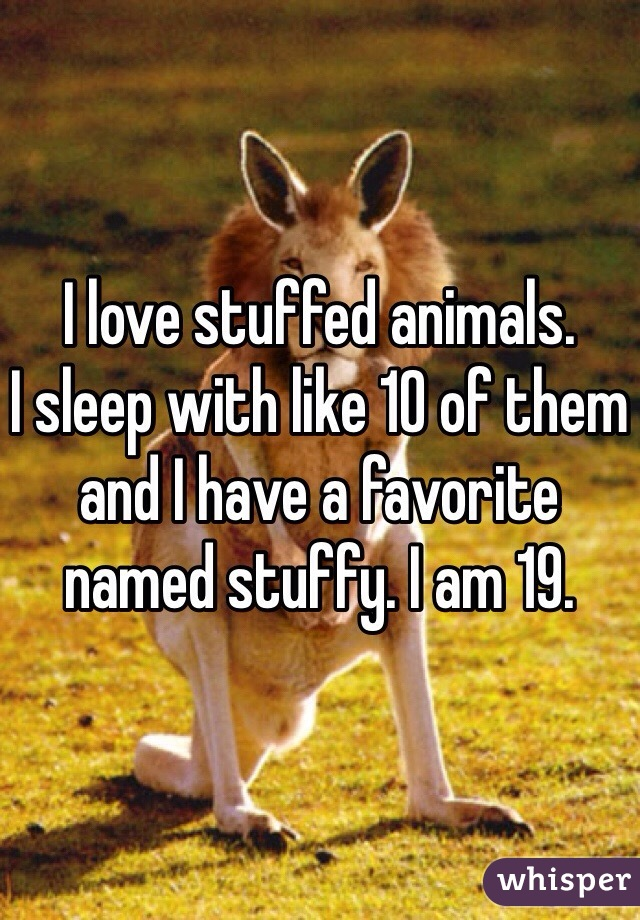 I love stuffed animals.  I sleep with like 10 of them and I have a favorite named stuffy. I am 19.