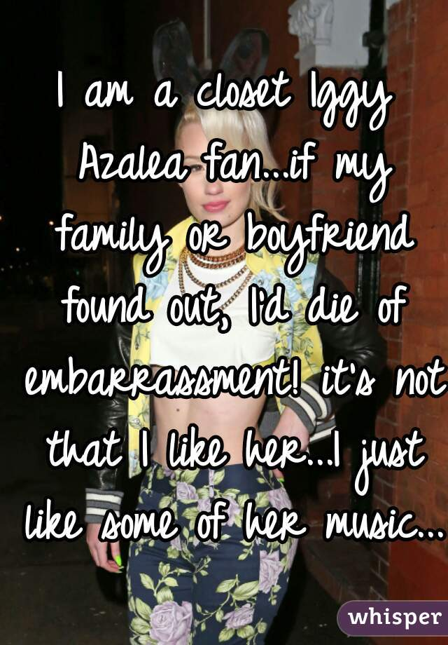 I am a closet Iggy Azalea fan...if my family or boyfriend found out, I'd die of embarrassment! it's not that I like her...I just like some of her music...
