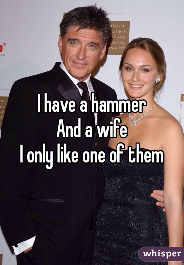 I have a hammer  And a wife  I only like one of them
