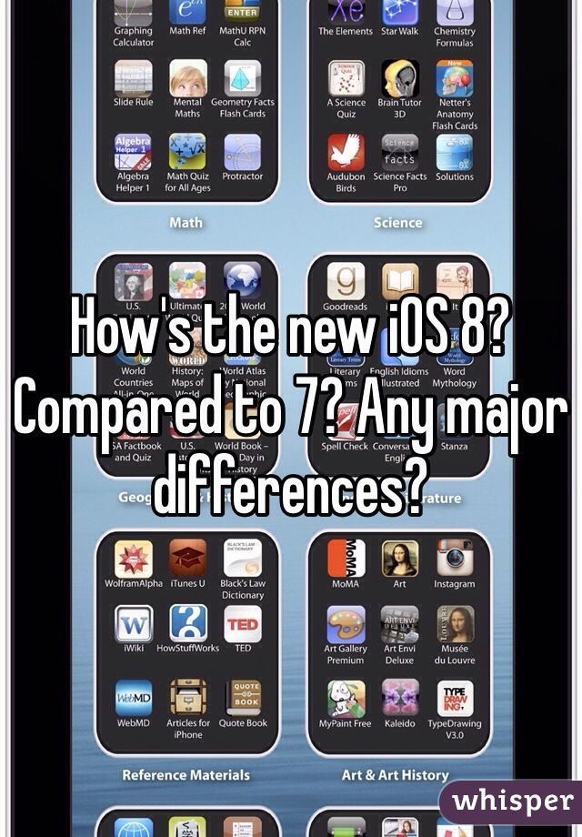 How's the new iOS 8? Compared to 7? Any major differences?