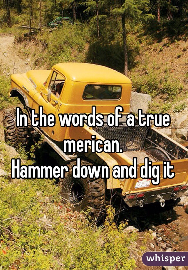 In the words of a true merican. Hammer down and dig it