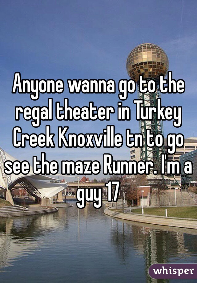 Anyone wanna go to the regal theater in Turkey Creek Knoxville tn to go see the maze Runner. I'm a guy 17